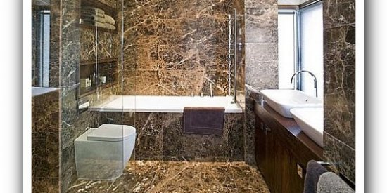 Emperador Dark Bathroom